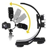 WOUPY Blitzschuhhalterung, Schwarz Kamera Blitzhalterung, Metall Dual für DSLR DV Kamera