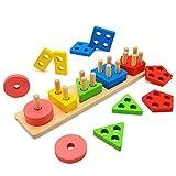 Euyecety Holzpuzzle Sortier Stapelspielzeug Lernspielzeug, Montessori Kinderspielzeug für 2 3 4 Jahre, Farberkennung Geometrisches Entwicklungs Sensorisches Spielzeug, Klassisches Steckspielzeug