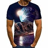 SSBZYES Herren T-Shirt Sommer Herren Großformat Top Herren Kurzarm T-Shirt Herren Bedruckte Top Mode Lässig Sternenhimmel 3D Bedrucktes T-S