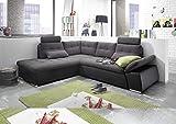 moebel-guenstig24.de Ecksofa XL Jakarta Couch Schlafcouch Bettsofa Schlafsofa Sofabett Funktionssofa ausziehbar Lederlook schwarz grau Ottomane Links 260 cm L-Form