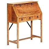 Wakects Holz Schreibtisch mit 4 Schubladen, Vintage Schreibtisch mit Stauraum, rustikaler Schreibtisch für Wohnzimmer, Schlafzimmer, Balkon, Büro 90x40x107 cm