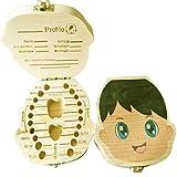 Wooden Baby Tooth Box Englische Milchzähne Nabelschnur Organizer (Multicolor für Jungen)