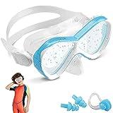 Taucherbrille Kinder, DAWINSIE Schnorchelbrille Schwimmbrille, Anti-Leck Anti-Fog, Verstellbares Silikonband, Kinder wasserdichte Tauchmaskemit Nasenklemme & Ohrstöpsel, Geeignet für 4-12 Jahre
