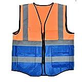 Reflektierende Weste, langlebige Warnweste mit hoher Sichtbarkeit, kollektive Aktivitäten Verkehrssicherheit für Nachtfahrten im Straßenbau(Orange+blue)