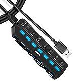 IVETTO USB-3.0-Hub mit einzelnen LED-Netzschaltern für Laptop, PC, MacBook, Mac Pro, Mac Mini, iMac, Surface Pro und weitere USB-Geräte (7 Anschlüsse)