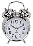 analoger Quarz Wecker aus Metall Chromfarben, Retro Glockenwecker mit Doppelgong und Nachtlicht, Ø 13 x 19