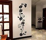 COVPAW® Wandtattoo Wandaufkleber XXL Blumen Ranke Rose Wandsticker Wandbild Bilder Wohnzimmer Schlafzimmer D