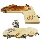 Hamster Holz Plattform Set L-Form Pedal Holzplattform 4 Stück Natürliche Hamster Stehplattform Rund Stehbrett Spielzeug für Hamster Meerschweinchen Chinchilla Rennmäuse Eichhörnchen und Zwerg (Typ A)