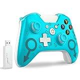 Xbox Wireless Controller,Wireless Controller für Xbox One/ PS3 / Elite/PC Windows 7/8/10,mit 2,4 GHz Wireless Adapter,Dual Vibration,Blau(Keine Kopfhörer Buchse)