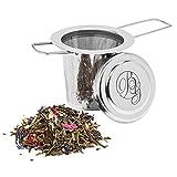 Boomers Gourmet - Teesieb I Teefilter für losen Tee mit Deckel - Tee Sieb aus rostfreiem 304 Edelstahl für die meisten Tee Kannen und Tee Tassen - 1 Sieb