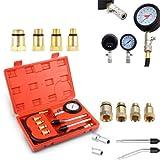 PowerTools Kompressionstester-Set, Benzin Motor Kompressionsprüfer 0-20 bar oder 0-300 psi Verdichtungsmesser, Meßgerät Drucktester für KFZ Motorrad Benzin T