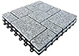 BodenMax Naturstein Klick Granitfliesen | Roma Muster | 30cm x 30cm x 2,5cm | 8 Fliesen = 0,72m³ | geignet für Innen- und Außenbereich: Balkon, Terrasse, Garten, Schwimmbad, S