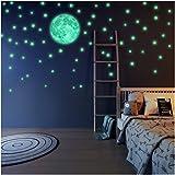 Leuchtende Sterne und Mond, Wandsticker für Kinder,.Aufkleber die das Schlafzimmer ihres Kindes beleuchten Fluoreszierend und im Dunkeln leuchtend Sternenhimmel Aufkleber