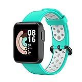 leiai Armband für Xiaomi Mi Watch Lite/Redmi Watch,Silikon Ersatzband Armband Verstellbares Silikonband,Uhrenarmband Armbänder Sports Wrist Strap für Xiaomi Mi Watch Lite/Redmi Watch (Grün Weiß)