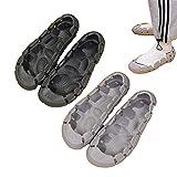 EFSDF 2021 No Upper Design Convertible Slipper,Komfortable Fußmassage Topless Sandalen,Slip On Aushöhlen Damen Slipper, Unisex rutschfeste Weiche Sandalen Freizeitschuhe (Black+Gray,37-38)