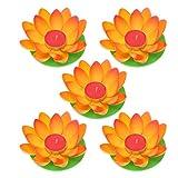 OSALADI Schwimmkerzen Lotus Kerzen Wasserlaterne Künstliche Lotusblüte Seerose Schwimmlaterne Laterne mit Kerze für Pool Teich Garten Hochzeit Party Dekoration Orange 5 Stück