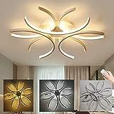LED Wohnzimmerlampe Deckenlampe Deko Wohnzimmer Lampe Modern Blumen Designe Deckenleuchte Dimmbar Schlafzimmerlampe, Decken Leuchte 72W mit Fernbedienung, Weiß Acryl lampeschirm, Ø60 cm