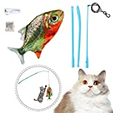 wenyujh elektrisches Katzenangel Katzenspielzeug,Interaktive Plüsch wiederaufladbar mit USB Kabel Spielzeug für Katze und Haustier zu Spielen (Piranha)