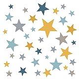 Little Deco Wandaufkleber 60 Sterne Kinderzimmer Mädchen Junge Stars I gelb grau blau I Wandtattoo Schlafzimmer Wandsticker Set bunt selbstklebend DL402