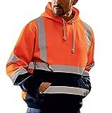 Kaiki Herren Kapuzenpullover mit Sicherheits Reflexstreifen Leuchtend Warnschutz- Sweatshirts Mann Jacket (XXXXL, Orange B)