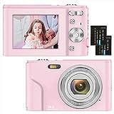 Digitalkamera 1080P HD Kompaktkamera 36 Megapixel Mini-Videokamera 2,4' LCD Digitalkamera wiederaufladbare Fotokamera mit 16X Digitalzoom für Studenten/Erwachsene/Kinder/Anfänger(Rosa)