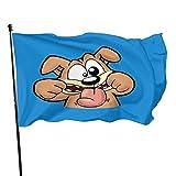 WH-CLA Fahne Netter Dummer Gesichts-Hund Lustige Gartenflagge 90X150Cm Hinterhofdruck Lebendige Farbe Rasen Alle Jahreszeiten Yard-Flagge Schmückt Willkommens-Außenbanner-Flagge Für Außen