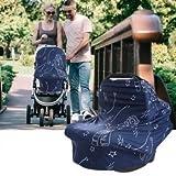 HelloCreate Baby Autositzbezug, Baby Car Stretchy Stillbezug Säuglingsstillbezug Carseat Canopy Kinderwagenbezug - Marineblau