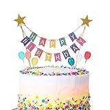 Phoetya Alles Gute zum Geburtstag Kuchen Topper Bunting Set, Regenbogen Kuchen Dekorationen mit 6 Stück Mini Bunte Ballon Cupcake Topper für Kinder Geburtstagsfeier liefert Dek