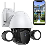 Full HD 2304*1296p Überwachungskamera Aussen WLAN IP WiFi Kamera mit Flutlicht Scheinwerfer Dome PTZ Zwei-Wege-Audio Bewegungserkennung APP-Alarm Wasserdicht IP66 Farbnachtsicht (Kamera+32G-SD-Karte)