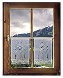 2er Set Scheibengardinen Häkelgardine französischer Landhausstil Fensterbilder French Country 45 x 30 cm