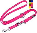 DDOXX Hundeleine Nylon, 3fach verstellbar, 2m   für kleine & große Hunde   Doppel-Leine Zwei Hund Katze Welpe   Schlepp-Leine groß   Führ-Leine klein   Lauf-Leine Welpen-Leine   XS, Pink