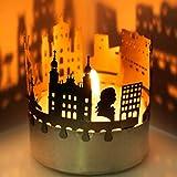 13gramm Salzburg-Skyline Windlicht Schattenspiel Souvenir, 3D Edelstahl Aufsatz für Kerze inkl. Karte
