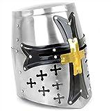 AnNafi Mittelalterlicher Tempelritterhelm mit Kreuz | griechisch-römische Spartanische Rüstung Zubehör | Silber-Gold-Helm A+ | tragbar für Erwachsenenkostüme (Zorro Schwarz)
