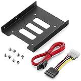 deleyCON Einbaurahmen für 2,5' Festplatten SSD's auf 3,5' Adapter Wechselrahmen Mounting Frame Halterung Schienen inkl. Schrauben SATA Kabel und Stromadapter
