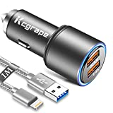 Auto/Kfz Ladegerät für Iphone 11/11 Pro/8 7/XR XS SE 2020/8 Plus/6S 6 Plus/X/XS Max/11 Pro Max,5 5C,Ipad Air/Mini/Pro,Zigarettenanzünder USB Ladestecker/Lade Adapter:Quick Charge 3.0+2.4A+1M Ladekabel