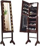 RELAX4LIFE Schmuckschrank 18 LEDs, Schmuckregal mit Ganzkörperspiegel & Eingebautem Spiegel, Spiegelschrank neigbar, Standspiegel für Ringe & Ohrringe & Ketten & Lippenstifte & Kosmetika (Braun)