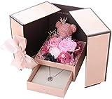 Auoeer Rose Bär Blume Geschenkbox Mit Halskette Lagerung, Schmucklagerung Geschenkbox Mit Blumen Rose Bär, Handgemacht, Geeignet Für Den Valentinstag, Jubiläum (Farbe : Rosa)