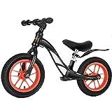 Lqdp Laufräder Laufrad Laufräder für 3 Jährige, 12 Zoll Luftreifen Schwarz mit verstellbarem Sitz, Schwarz Fahrräder ohne Pedale für Jungen/Grils Geburtstagsgeschenk