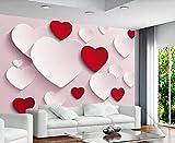 3D Tapete Rote Liebe Einfach Tapeten Vliestapete Fototapete 3D Effekt Wohnzimmer