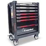 KnappWulf Werkzeugwagen KW533 Werkzeugkoffer Werkstattwagen Werkzeugkasten gefüllt mit Werkzeug Ablage aus Edelstahl