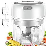 Gintan Elektrisch Zerkleinerer Küche,250ML Mini Knoblauchhacker Gemüsezerkleinerer Elektrisch Zwiebelschneider mit 3 Scharfen Klingen für Knoblauch Gemüse Obst Fleisch Multizerk