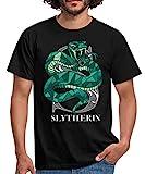Harry Potter Slytherin Wappen Monochrom Männer T-Shirt, M, Schwarz