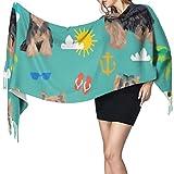 Luxus Schal Wrap Decke Schal Großer Schal, Frauen Schals Winter Lange Weiche Warme Yorkshire Terrier Sommer Strand Design Kaschmirähnliche Pashmina Schals Wraps Quaste Schal Stola Schal