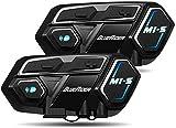 Bluerider Motorrad Intercom Helm Headset Gegensprechanlage Bluetooth 4,1 bis zu 8 Reiters, Kommunikationssystem für Motorräder, Wasserdicht Vollduplex, 10 Std Sprechzeit, 2 Stück