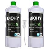 BiOHY Scheuermilch (2x1l Flasche) + Dosierer | entfernt eingebrannte Speisereste mühelos | gründliche Reinigung ohne zu kratzen | schonend zu Haut & Umwelt | für Emaille, Keramik & Edelstahl