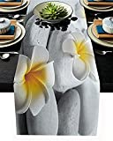 VJRQM Leinen Tischläufer Einstellung Dekoration Grau Zen Stein mit kleinen gelben Blumen rutschfeste Sackleinen Tischläufer für Familienessen,Bauernhaus,Hochzeit,Weihnachtsfeier Dekor (13x70 Zoll)