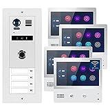 2-Draht Bus IP Video Türsprechanlage Fingerprint, 4 Familienhaus Set, 7'' Monitor mit oder ohne WLAN, Größe: 1x7'' Monitor mit WLAN Schnittstelle