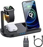 Wireless Ladegerät 15W Fast Wireless Ladegerät 4 in 1 Qi-Ladestation für 12 / SE / 11 / X/XR/XS MAX / 8 AIRPODS PRO / 2 Samsung Buds / S21 / S20 / S10 (schwarz)