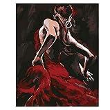JCKSimpleLife Malen Nach Zahlen Tänzer DIY Leinwand Gemälde für Erwachsene und Kinder, Enthält Acrylfarben und 3 Pinsel(Ohne Rahmen) 40x50cm