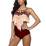 NLZQ Damen Badeanzug Bikini Sets Hohe Taille Bikinihose Halter Modeelegant Schlinge Rüsche Push Up Zweiteilige Bademode Strandkleidung S
